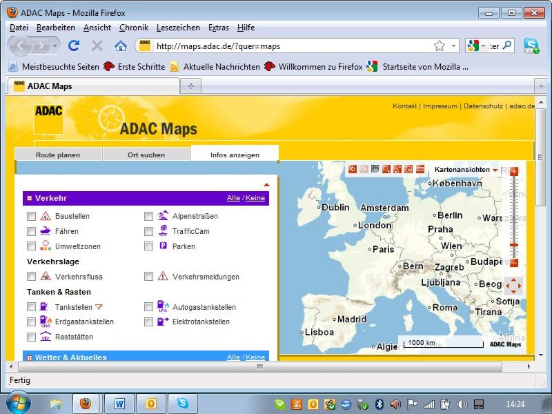 ADAC Maps informiert über Reisewetter, Schneehöhen und Verkehrsfluss