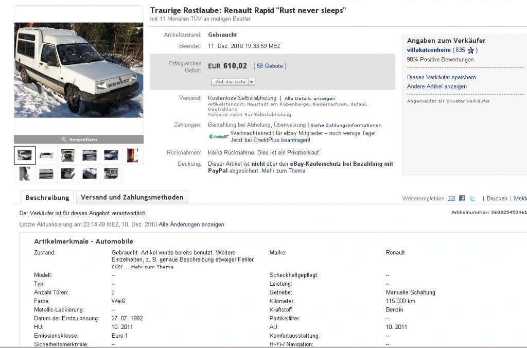 Lacher des Tages: Der Verkauf einer traurigen Rostlaube bei Ebay