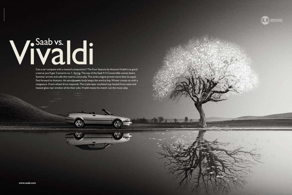 Saab und Vivaldi im Print - doch in einem Werbefilm nutzte Saab das ''Dies Irae'' aus Mozarts Requiem.