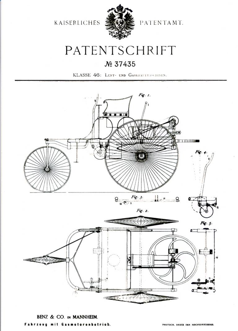 Die Patenanmeldung von Carl Benz im Januar 1886 ist quasi die Geburtsstunde des Automobils.