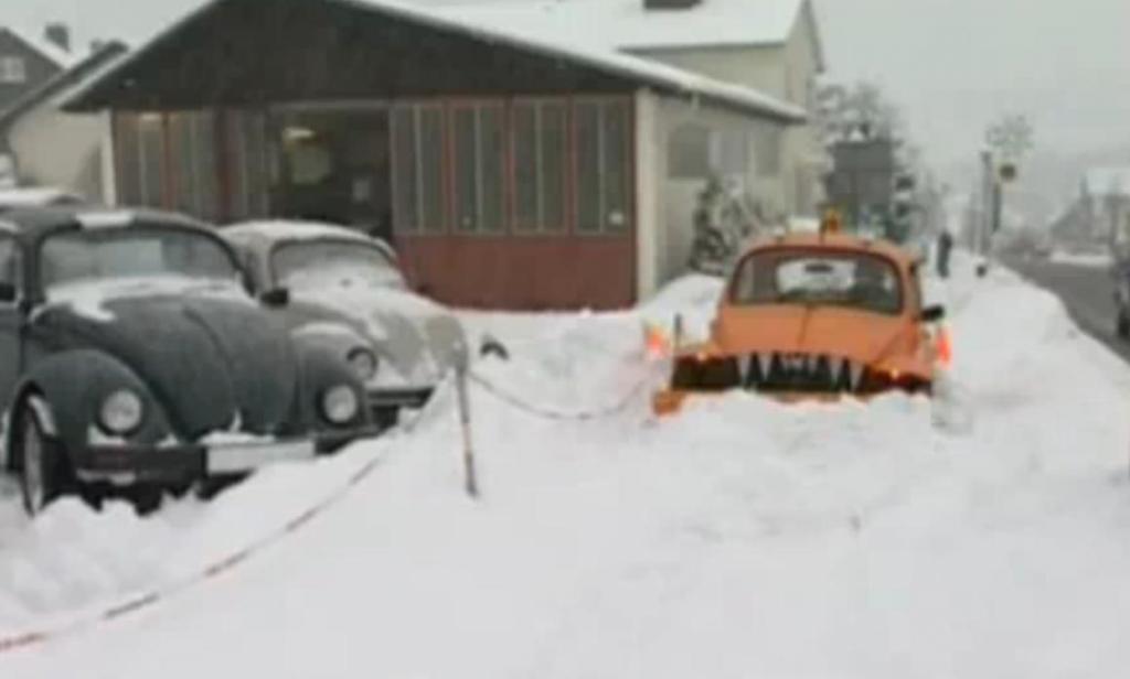 Ein Käfer als Schneepflug