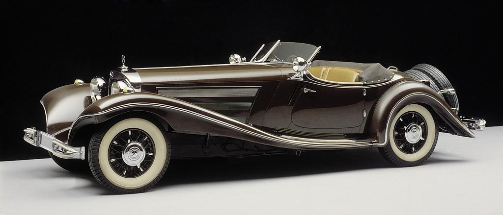 Eleganter Mercedes-Benz 500 K Roadster als eleganter Sportwagen mit Achtzylinder-Kompressor aus dem Jahr 1934.