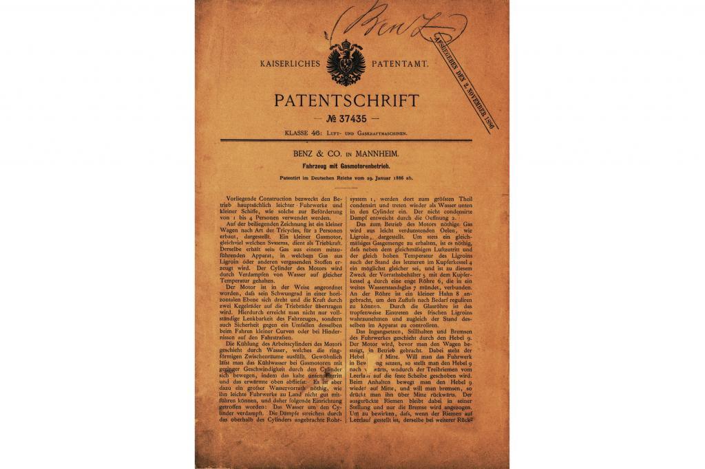 Patentschrift zum Motorwagen