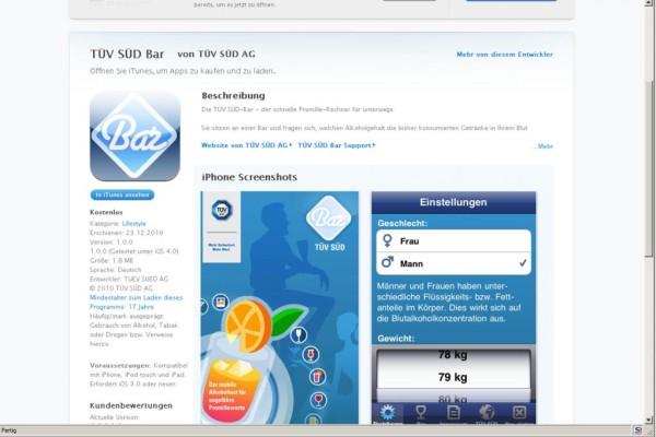 Promillerechner als App fürs iPhone