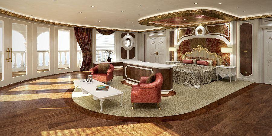 Blick auf die Gäste-Suite, Bild: Yacht Island Design