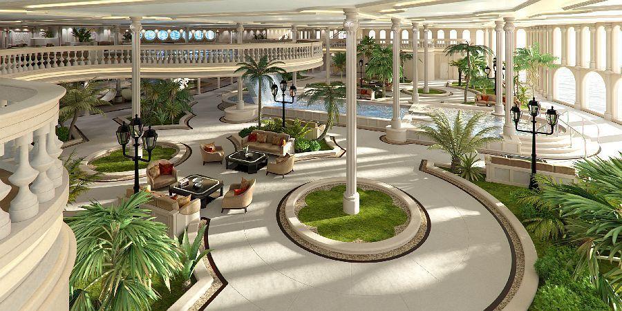 Der Erholungsbereich des Schiffes, die Oasis, Bild: Yacht Island Design