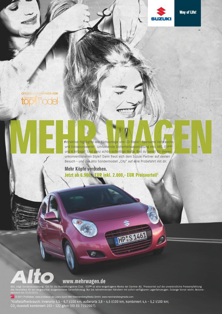 """Der Suzuki Alto ist eines von sieben Modellen, die in der neuen Kampagne """"Mehr Wagen"""" präsentiert werden."""