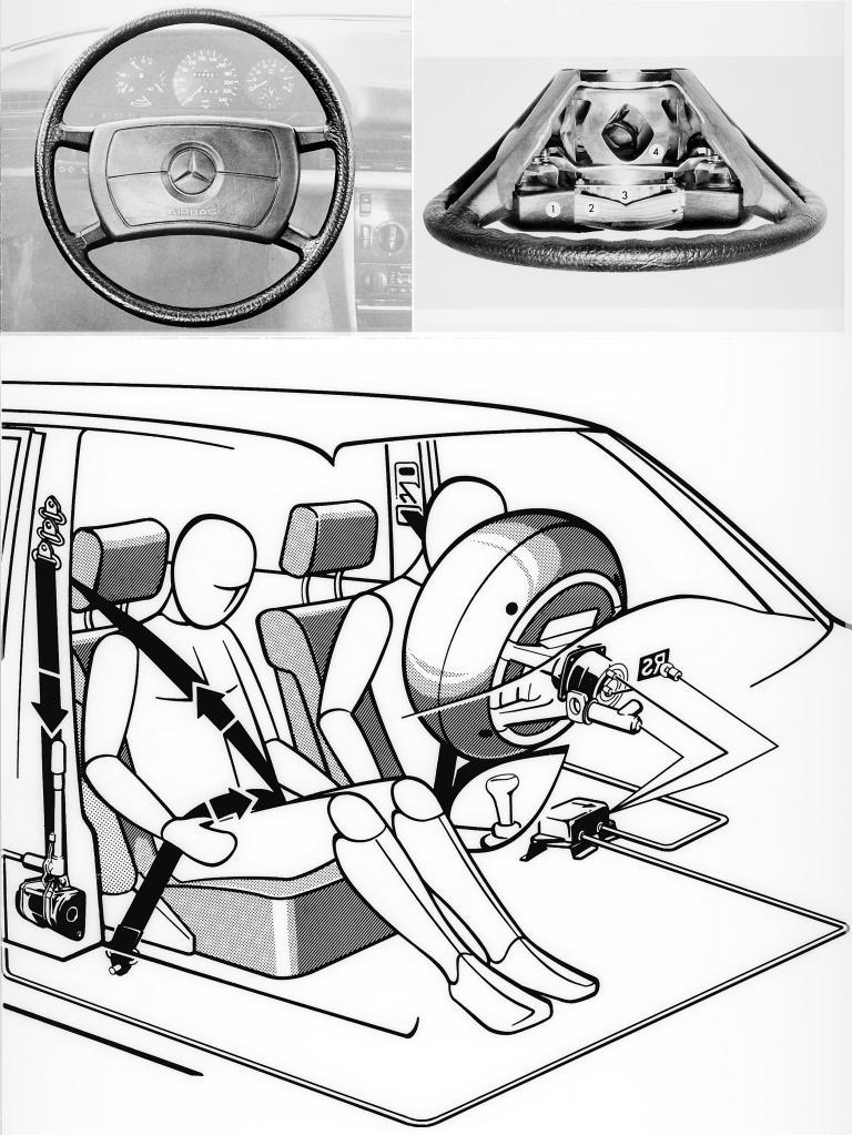 Die Mercedes-Grafik von 1980 erklärte die Funktion von Airbag und Gurtstraffer auf Basis eines gemeinsamen Sensorsignals