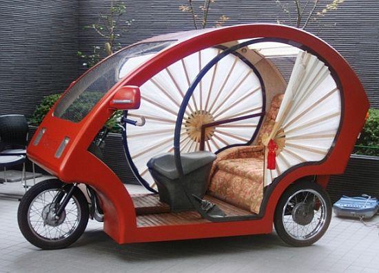 Die elektronische Rikscha mit Fenstern aus Papier und Bambus-Boden, Foto: planet forward
