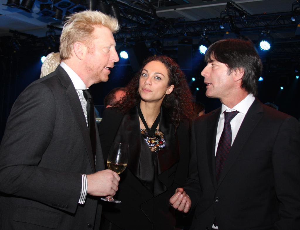 Festakt-Gäste: (von links) Ex-Tennis-Star Boris Becker, Ehefrau Lilly Kerssenberg, Fußball-Nationalmannschafts-Trainer Joachim Löw.