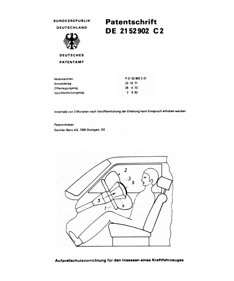 Im Oktober 1971 meldeten Mercedes-Ingenieure den Airbag zum Patent an.