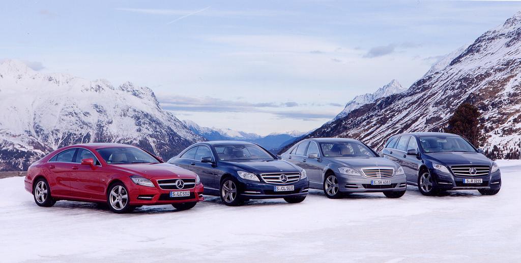 Mercedes-Gruppenbild mit Allrad: (von links) CLS-, CL-, S-, R-Klasse.