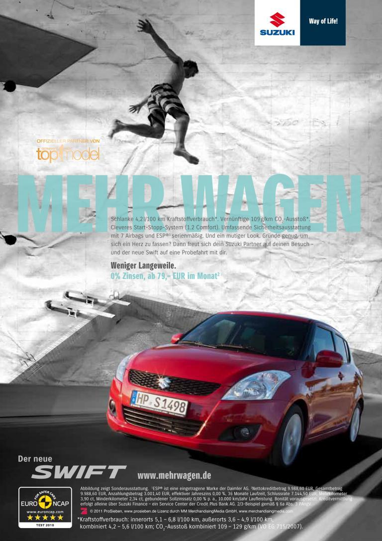"""Suzuki startet in Deutschland Anfang März 2011 eine neue 360°-Marketingkampagne mit dem Titel """"Mehr Wagen""""."""