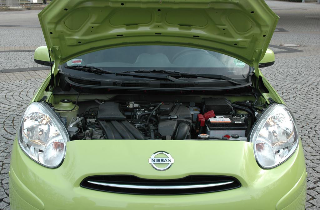 Nissan Micra: Blick unter die Motorhaube des vorerst einzigen 80-PS-Benziners.