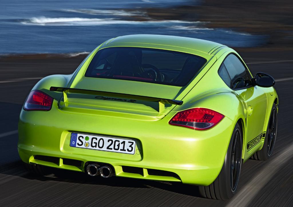 Porsche Cayman R: Auf dem Heck sitzt ein feststehender Spoiler.