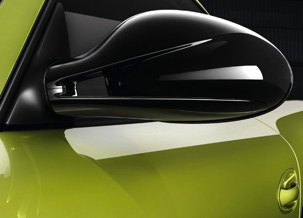 Porsche Cayman R: Nicht nur die Außenspiegel setzen schwarze Konraste.