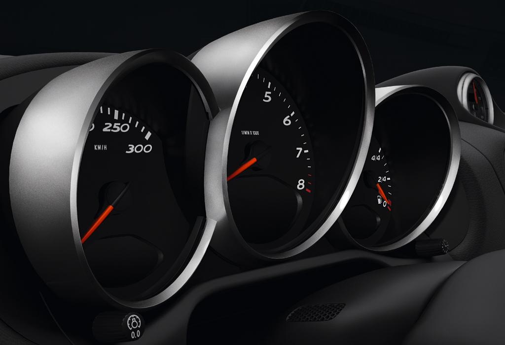 Porsche Cayman R: Seitlicher Blick auf die Rundinstrumente.
