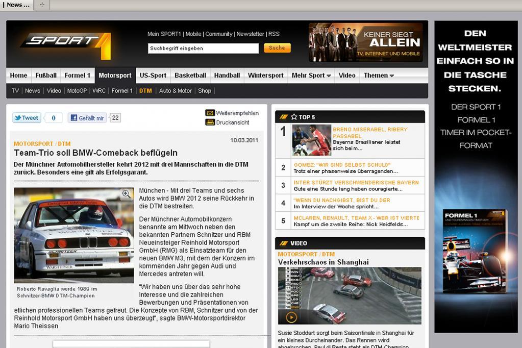 Sponsoring: Hankook Reifen präsentiert Sport1-Sendungen