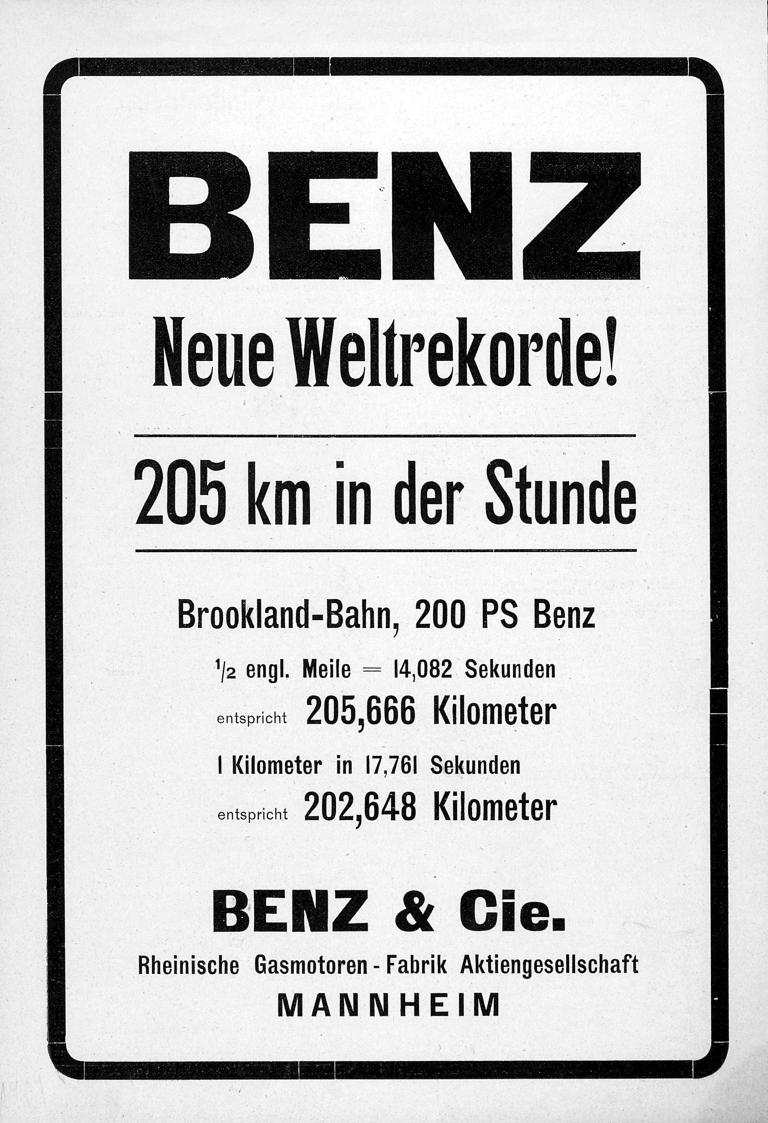 """Victor Hémery fuhr am 8. November 1909 mit dem Benz 200 PS (""""Blitzen-Benz"""") auf der Brooklandsbahn zwei Weltrekorde ein."""