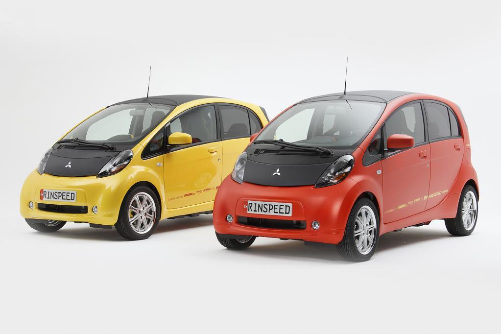 wei, die es nur einmal gibt: die vom Schweizer Automobil-Visionär verfeinerten Elektroautos vom Typ Mitsubishi i-MiEV.