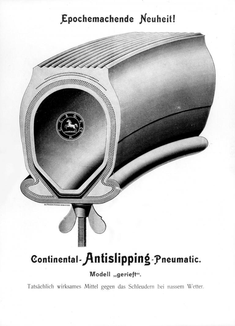 140 Jahre Continental. Der erste Reifen mit Profil von 1904.