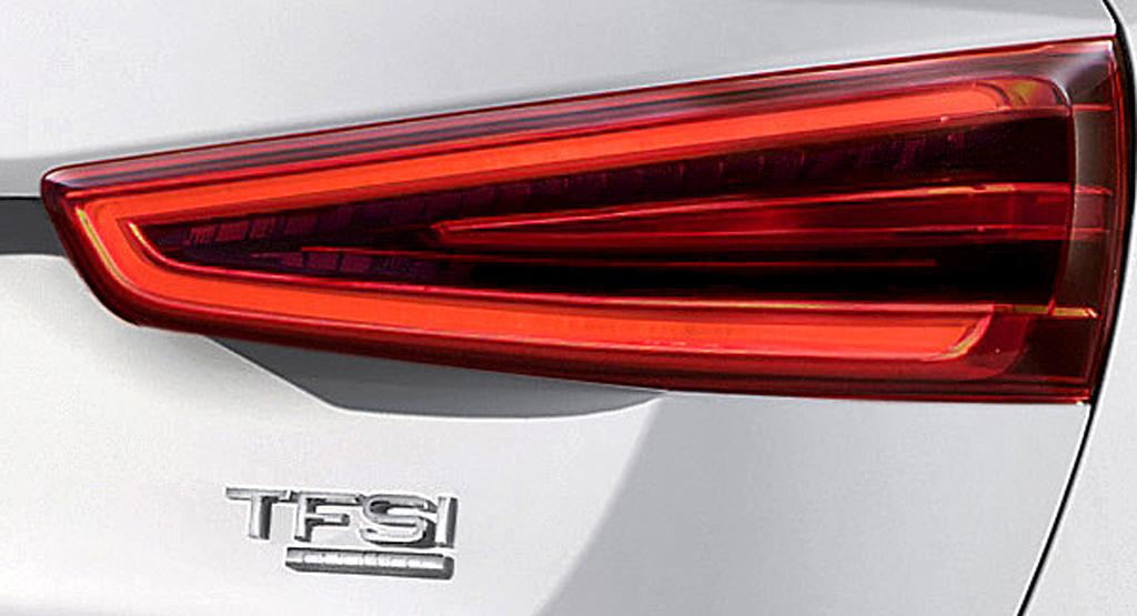 Audi Q3: Moderne Leuchteinheit hinten mit Motorisierungsschriftzug.