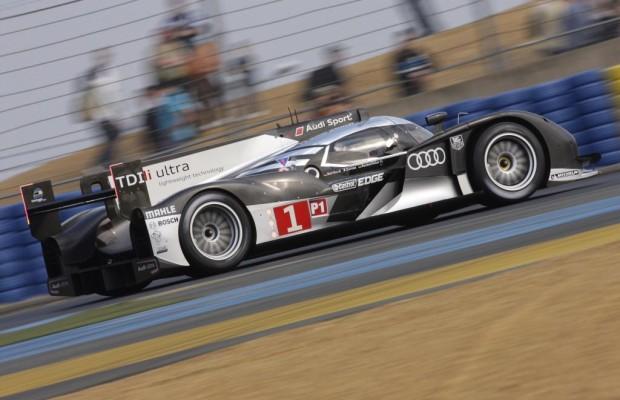 Audi R18 TDI in Le Mans mit Bestzeiten am Trainigstag