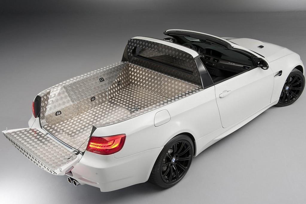 Der Pritschenwagen greift auf 309 kW/420 PS zurück, ist 50 Kilogramm leichter als ein normaler M3 und dabei ein echtes Nutzfahrzeug.