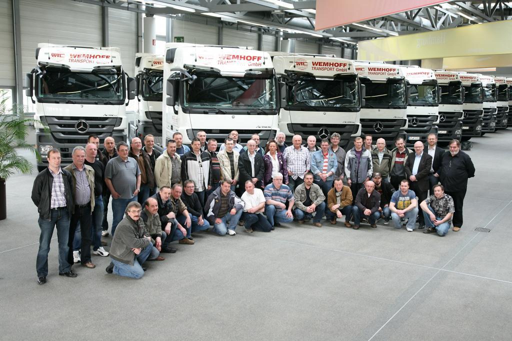 Die Fahrzeug-Abholung als Event für die Fahrer der Firma Wemhoff Transport.