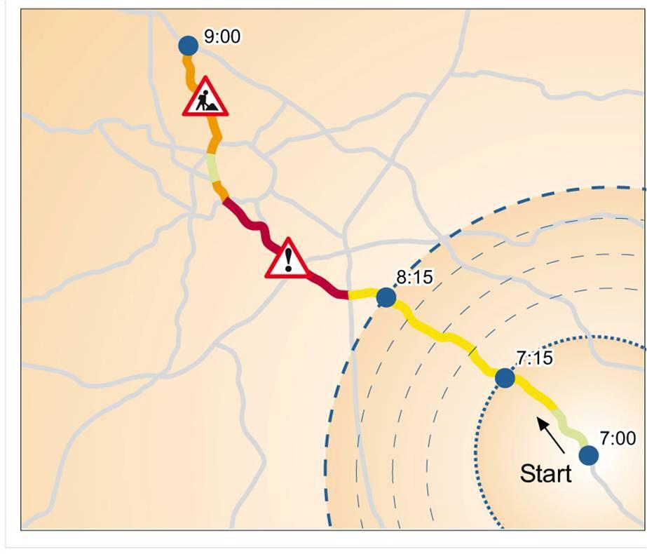 Die Technologie hinter der Bayerninfo-App: PTV xRoute Server. Die Komponente ermöglicht ein dynamisches Routing: Es wird immer die prognostizierte Verkehrslage herangezogen, die dann auf einem Abschnitt vorherrscht, wenn man diesen erreicht.
