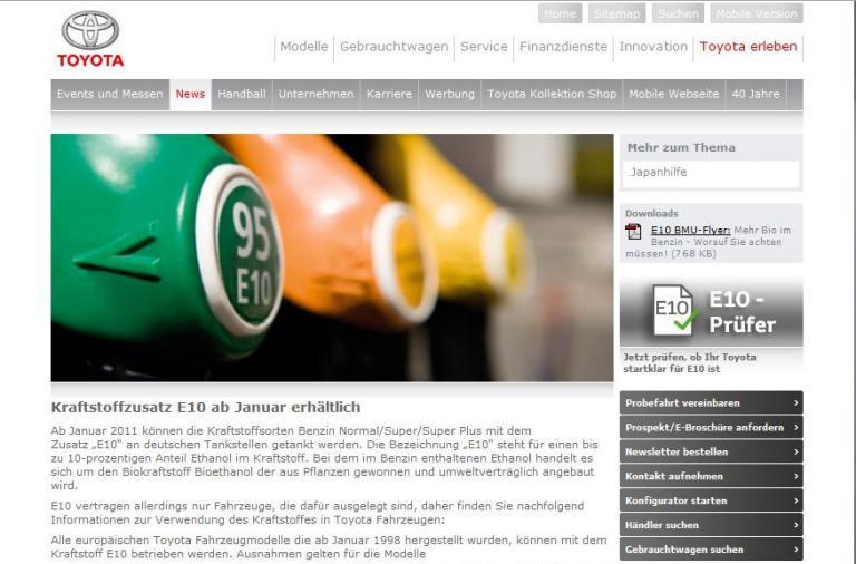 Toyota richtet Onlineservice für E10 ein