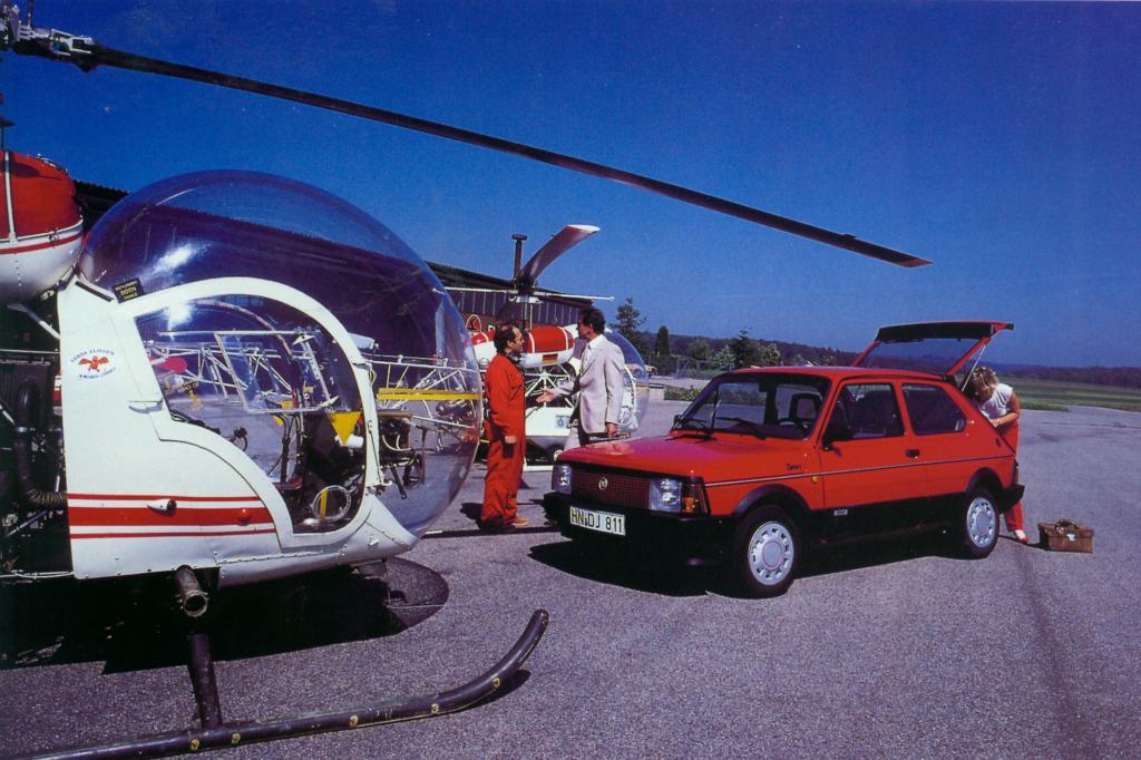 Das PR-Foto suggeriert, dass auch Hubschrauberbesitzer Fiat fahren