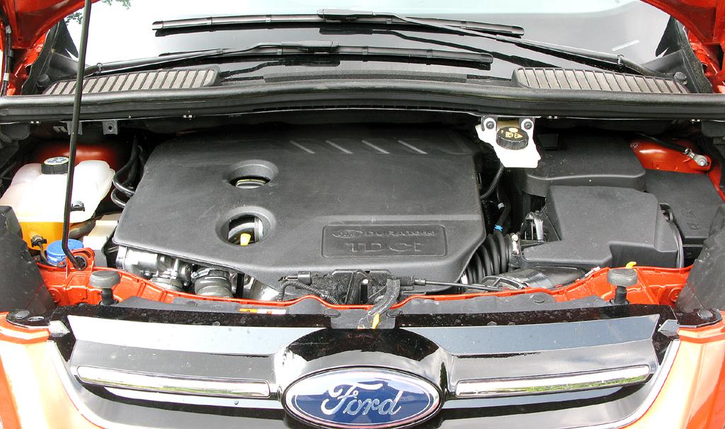 Ford Grand-C-Max: Blick unter die Motorhaube des 1,6-Liter-Vierzylinder-Selbstzünders.