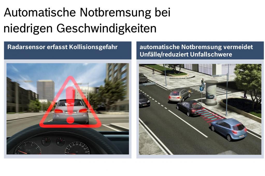 Vor dem automatischen Eingriff wird der Fahrer vor der Gefahr gewarnt. Hierfür müssen Hindernisse erkannt werden.