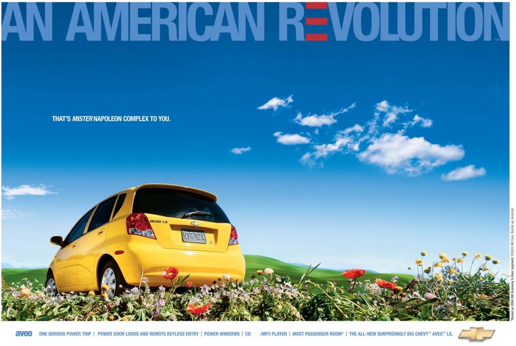 Anzeige für den Kleinwagen Chevrolet Aveo von 2004.