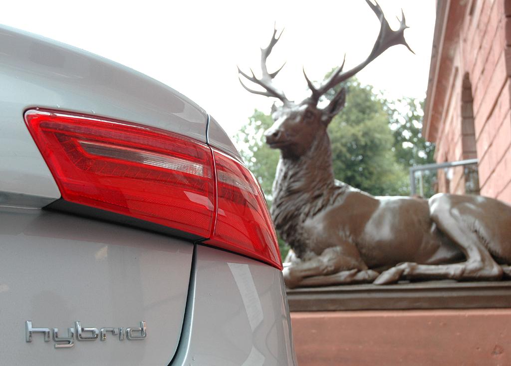 Audi A6 Hybrid: Moderne Leuchteinheit hinten mit Antriebsschriftzug.
