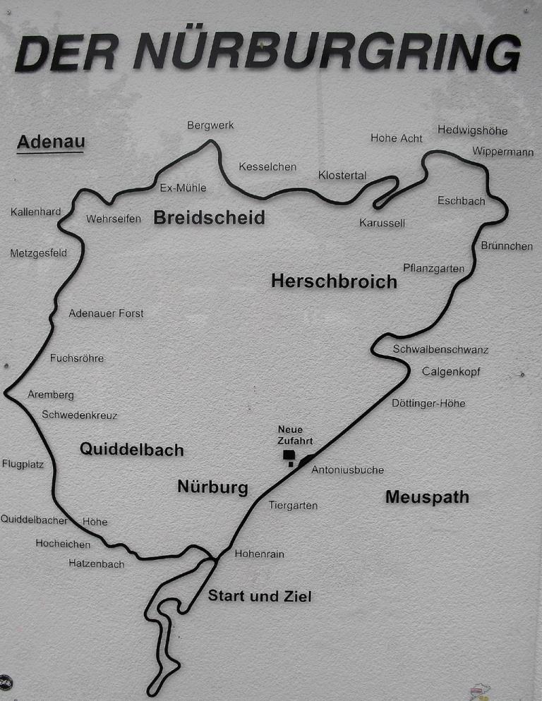 Auf einen Blick: Nordschleife mit Streckenpunkten.