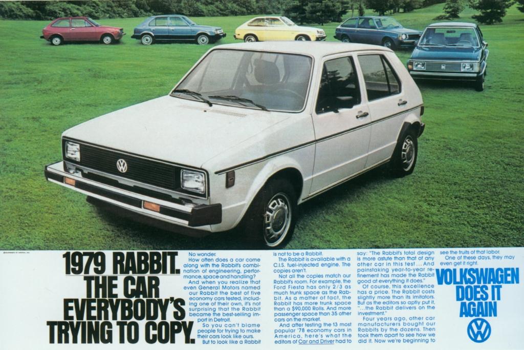 Der VW Golf in den USA als Rabbit verkauft, war einer der Konkurrenten des Chevrolet Chevette.