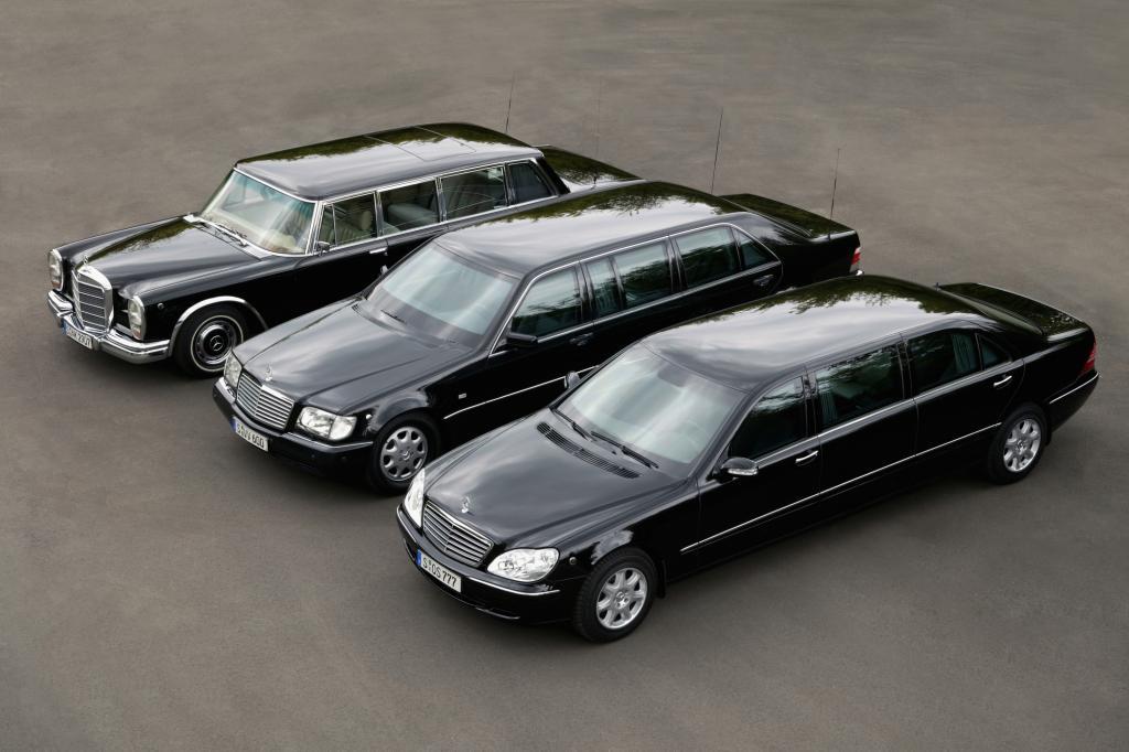 Die Pullman-Limousinen im Wandel der Zeit (v. rechts: 220, 140, 100)