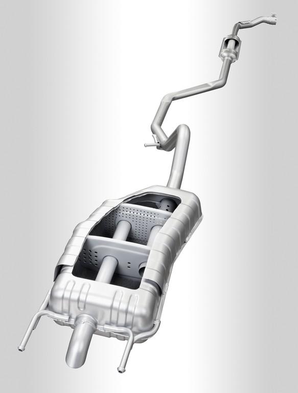 Gewichtsoptimierte Abgasanlage für E-Fahrzeug mit Range Extender.