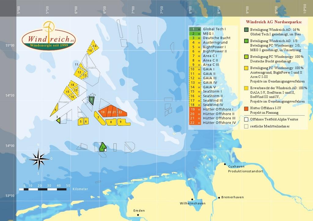 Nordseekarte mit den Windreich-Standorten.