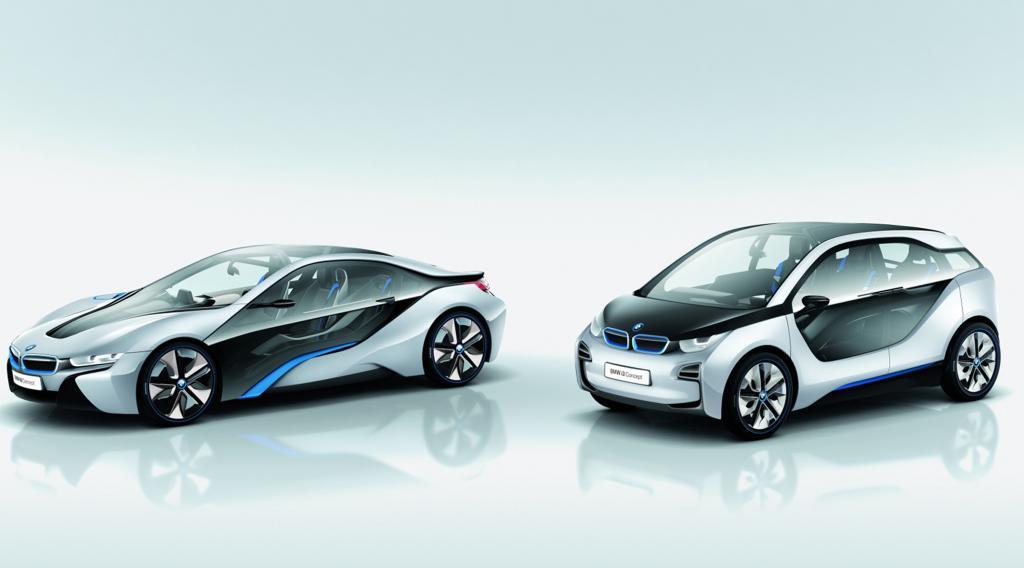 So sieht die Zukunft aus: der BMW i8 und der i3.
