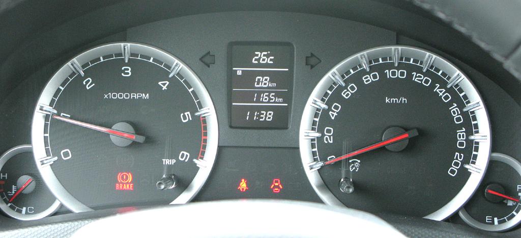 Suzuki Swift: Blick durch den Lenkradkranz auf die Rundinstrumentierung.