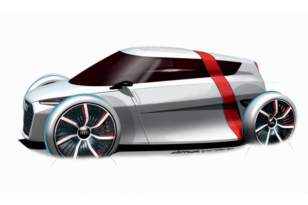 Das Audi Urban Concept hat eine ultraleichte Kohlefaser-Karosserie und wird elektrisch angetrieben.