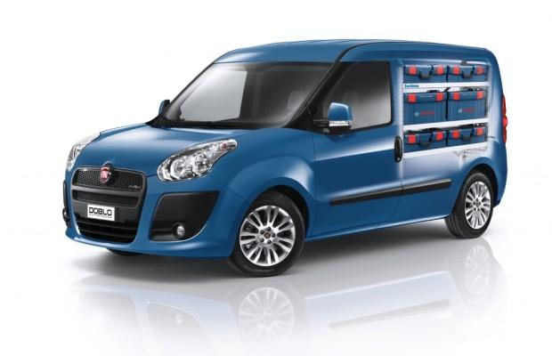 Fiat Doblò Cargo mit Sortimo-Regalausbau und Bosch-Werkzeugen