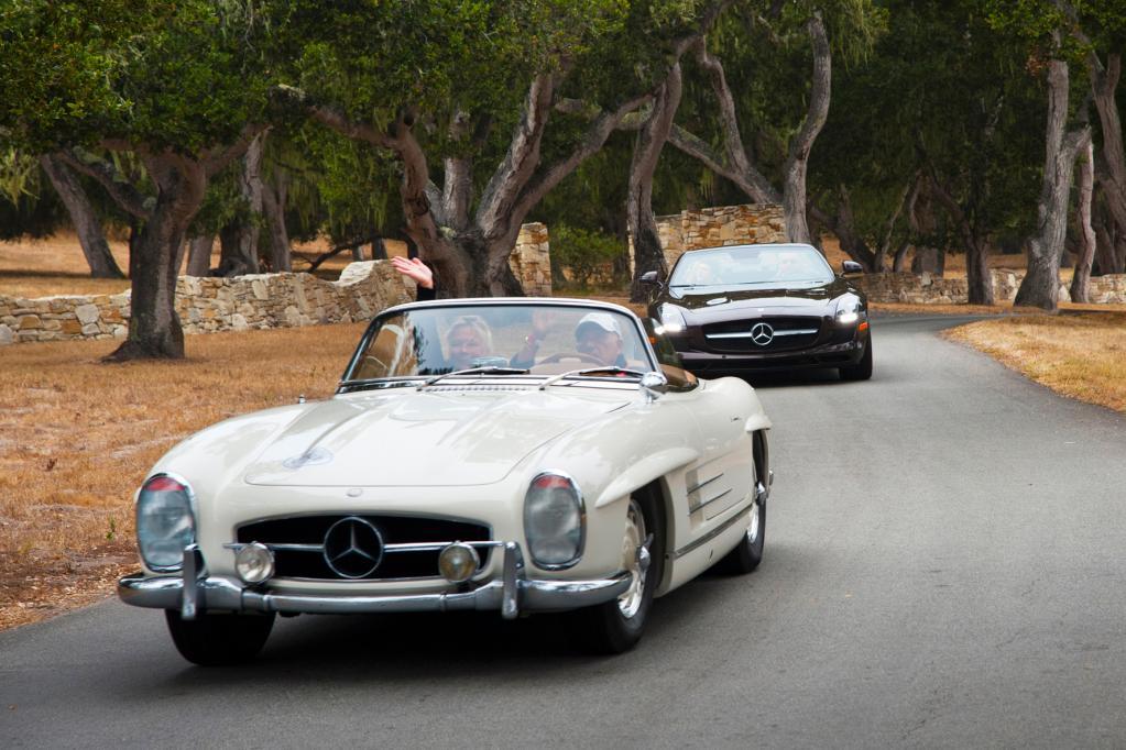 Hier zwei Mercedes-Modelle bei der wohl exklusivsten Oldtimer-Veranstaltung der Welt.