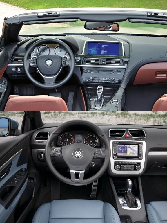 Innendrin: edle Hölzer und viel High-Tech beim BMW. Der VW Eos setzt auf bewährte Werte und erprobtes Doppelkupplungsgetriebe.