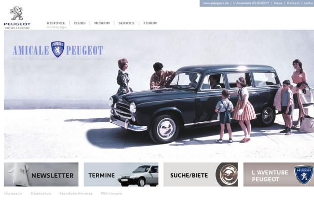 Peugeot frischt Oldtimer-Auftritt im Internet auf