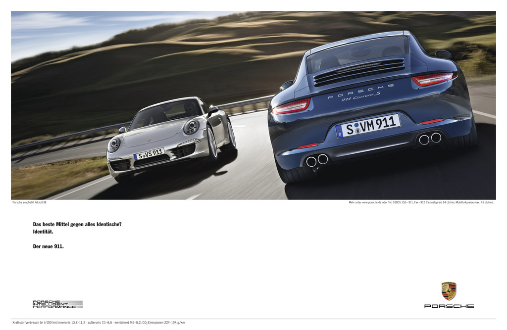 """Anzeigenkampagne """"Porsche Identität. Der neue 911."""""""