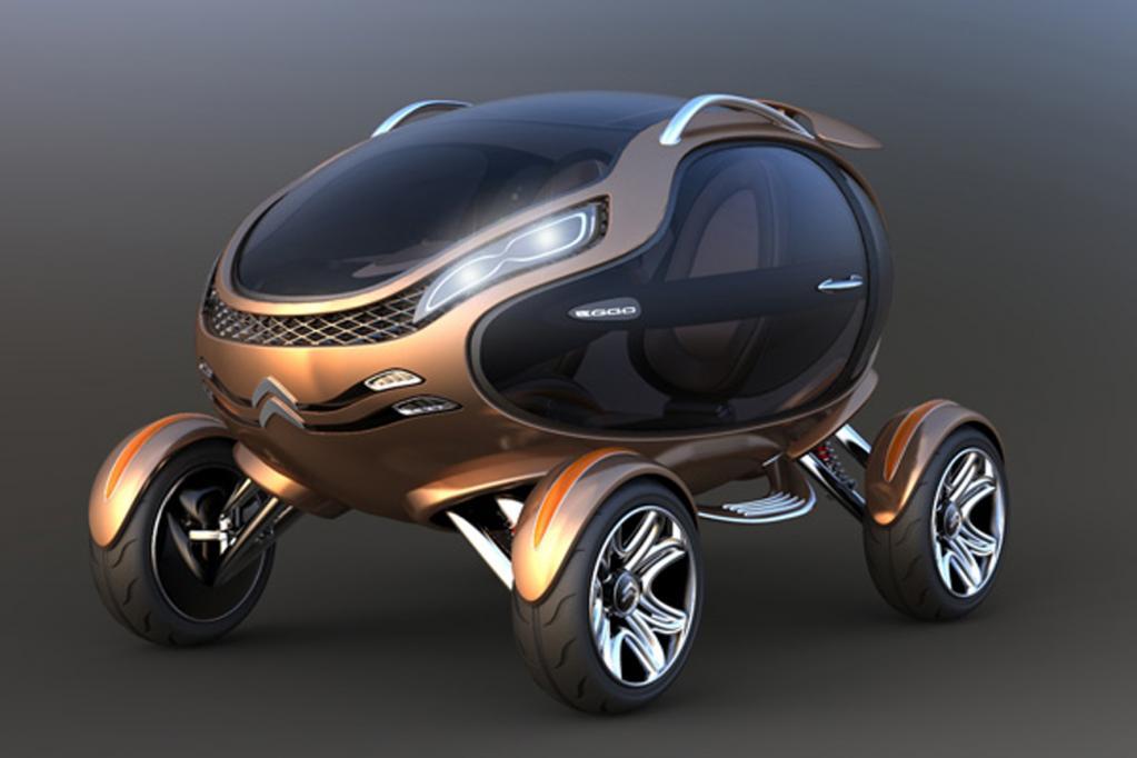 Der EGGO, das Ei auf Rädern, sieht futuristisch und lustig aus. Solarzellen am Dach sorgen für die notwendige Energie.